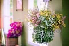 Kolorowi sztuczni dekoracyjni plastikowi kwiaty wieszają w iving ro Obraz Stock