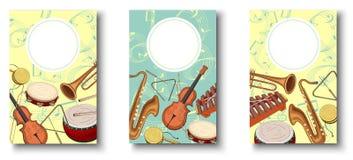 Kolorowi tła z notatkami i instrumentami muzycznymi ilustracji