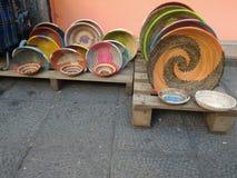 Kolorowi tradycyjni Afrykańscy kosze Zdjęcie Royalty Free