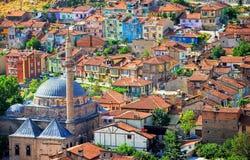 Kolorowi tradycyjni ottoman domy, Afyon, Turcja Zdjęcie Stock