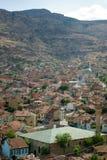 Kolorowi tradycyjni ottoman domy i meczet w Afyon, turczynka Fotografia Stock