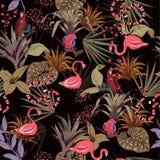 Kolorowi Tropikalni noc kwiaty, palma opuszczają, dżungli rośliny, bir ilustracji