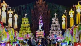 Kolorowi tysiące lanna lampiony przy nocą, Lamphun latarniowy festiwal zbiory wideo