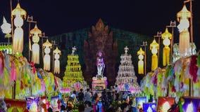 Kolorowi tysiące lanna lampiony przy nocą, Lamphun latarniowy festiwal puszek zbiory