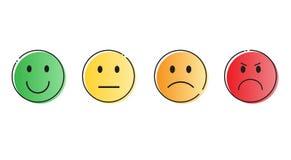 Kolorowi Uśmiechnięci kreskówki twarzy emoci ikony setu ludzie ilustracji