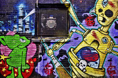 Kolorowi Uliczni graffiti Zdjęcie Royalty Free