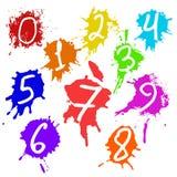 Kolorowi wektorów pluśnięcia i liczby - kleks, plamy Ustawiać ustalony pluśnięcie kolor Zdjęcia Stock