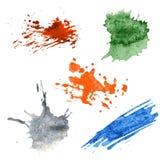 Kolorowi Wektorowi pluśnięcia - kleks, plamy Ustawiać Zdjęcie Royalty Free