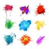 Kolorowi Wektorowi pluśnięcia - kleks, plamy Ustawiać ustalony pluśnięcie kolor Zdjęcia Stock