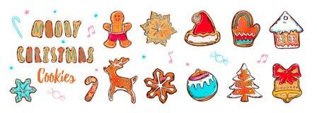 Kolorowi Wesoło boże narodzenia pocztówkowi z ginderbread symbolami Ilustracji