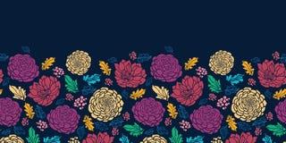Kolorowi wibrujący kwiaty na ciemny horyzontalnym Fotografia Royalty Free