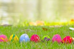 Kolorowi Wielkanocni jajka dekorowali z kwiatami w trawie zdjęcia stock