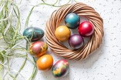 Kolorowi Wielkanocni jajka na białym tle Zdjęcie Stock