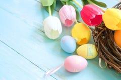 Kolorowi Wielkanocni jajka w gniazdeczku z tulipanowymi kwiatami na błękitnym drewnianym tle obrazy royalty free