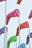 Kolorowi windsocks w porcie Zdjęcia Royalty Free