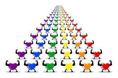 Kolorowi zdrowi serca maszeruje i paraduje w rzędach LGBT tęczy kolory odizolowywający na białym przejrzystym tle royalty ilustracja