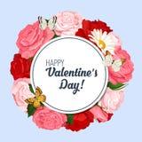 Kolorowy ślubny wianek z różami, chamomile i lawendą, Wektorowa kwiecista kolekcja Zdjęcia Royalty Free