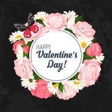 Kolorowy ślubny wianek z różami, chamomile i lawendą, Wektorowa kwiecista kolekcja Obraz Stock