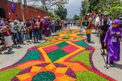 Kolorowy Świętego tygodnia dywan, Antigua, Gwatemala Zdjęcia Royalty Free