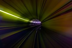 Kolorowy światło w tunelu metro plamy ruchu widok fotografia royalty free