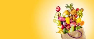 Kolorowy żółty panorama sztandar tropikalna owoc obrazy stock