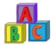 Kolorowy abecadło b C pisze list na sześcianów blokach jak wierza Obraz Stock