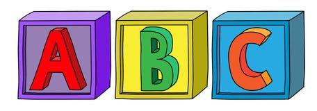 Kolorowy abecadło b C pisze list na sześcianów blokach w horyzontalnej pozyci Zdjęcie Royalty Free