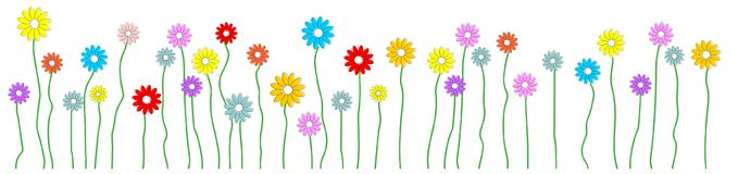 Kolorowy abstrakcjonistyczny kwiat na łące royalty ilustracja