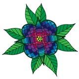Kolorowy abstrakcjonistyczny kwiat z liśćmi dla dorosłego lub dziecka kolorystyki Obraz Stock