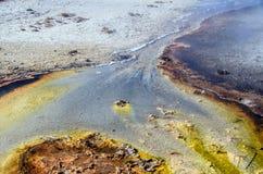 Kolorowy, abstrakcjonistyczny, naturalny wzór w Yellowstone parku narodowym, Wyoming, usa Obrazy Stock