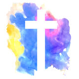 Kolorowy abstrakcjonistyczny tło z krzyżem Obraz Royalty Free