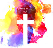 Kolorowy abstrakcjonistyczny tło z krzyżem Obrazy Royalty Free