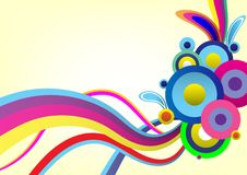 Kolorowy Abstrakcjonistyczny wektorowy tło farby kreskowej sztuki muśnięcie, krzywa i okrąg, ilustracja wektor