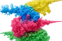 Kolorowy akrylowy atrament w wodzie odizolowywającej na bielu abstrakcyjny tło abstrakcjonistycznego kolor tła eksplozji fractals Obraz Stock