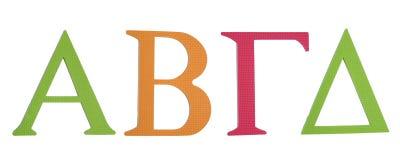 Kolorowy alfabet grecki Alfa, Bit, gamma, delta Zdjęcia Royalty Free