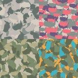 Kolorowy Ameryka miastowy kamuflaż Set usa kształta camo bezszwowy wzór Wektorowa tkaniny tkanina Militarny druku projekt Obraz Royalty Free