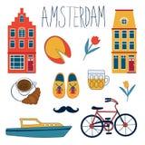 Kolorowy Amsterdam set ilustracja wektor