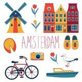 Kolorowy Amsterdam set Obraz Stock