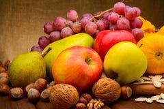 Kolorowy asortowany owoc na tkaniny tle Zdjęcia Stock