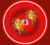 Kolorowy atramentu splat projekt z czerwonym tłem Fotografia Stock