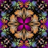 Kolorowy Barokowy wektorowy bezszwowy wzór Ornamentacyjny kwiecisty tren zdjęcie royalty free