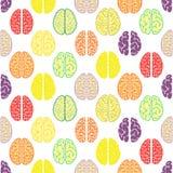 Kolorowy bezszwowy mózg wzór tło naukowy Obraz Stock