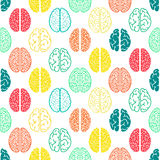 Kolorowy bezszwowy mózg wzór tło naukowy Zdjęcie Royalty Free