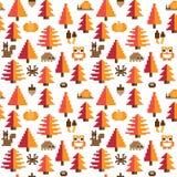 Kolorowy Bezszwowy piksla wzór z jesień elementami Fotografia Royalty Free