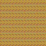 Kolorowy bezszwowy plemienny geometryczny wzór w brązie, kolorze żółtym, czerwieni i zieleni, ilustracja wektor