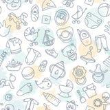Kolorowy bezszwowy wzór dziecko zabawki i różnorodni dziecko elementy w menchiach ilustracji