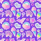 Kolorowy bezszwowy wzór: jednorożec, cukierki, tęcza, lody, lizak, babeczka, róża, nietoperz również zwrócić corel ilustracji wek royalty ilustracja