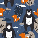 Kolorowy bezszwowy wzór, szczęśliwi śliczni niedźwiedzie, lisy, drzewa i chmury, royalty ilustracja