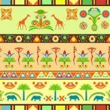 Kolorowy bezszwowy wzór w egipcjaninie i tradycyjnym afrykaninie Zdjęcia Royalty Free