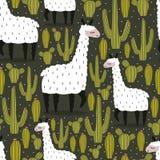 Kolorowy bezszwowy wzór z ślicznymi lamami, kaktusy ilustracji